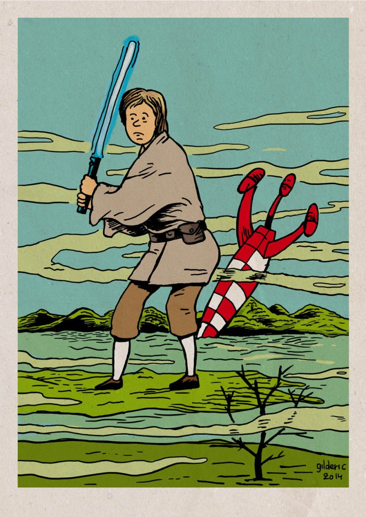 Tintin Skywalker (Star Wars ligne claire) - Dessin de Gilderic