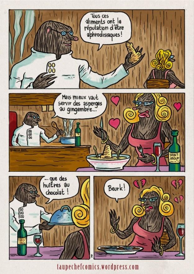 Recettes Taupe Chef : menu aphrodisiaque - BD de Gilderic