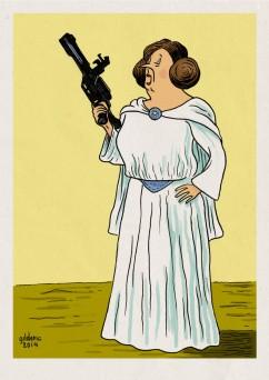 Tintin Star Wars : Princesse Leia Castafiore - Dessin de Gilderic
