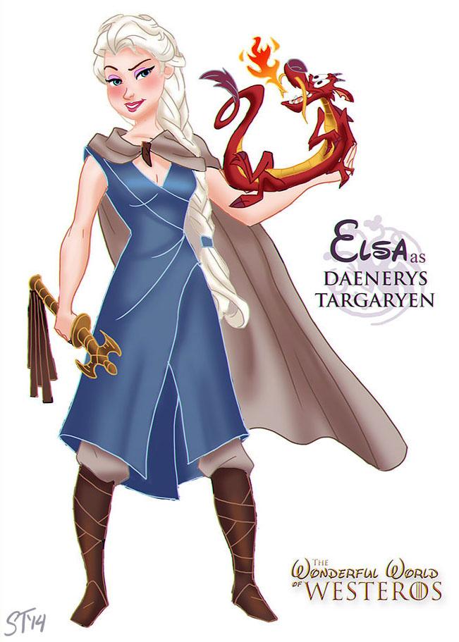 Elsa est Daenerys Targaryen (dessin : DjeDjehuti)