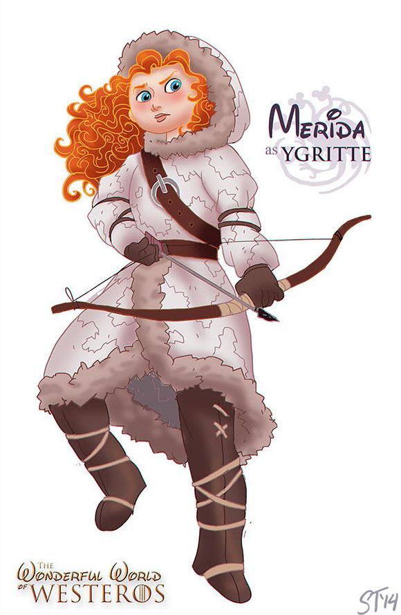 Merida (Rebelle) est Ygritte (dessin : DjeDjehuti)