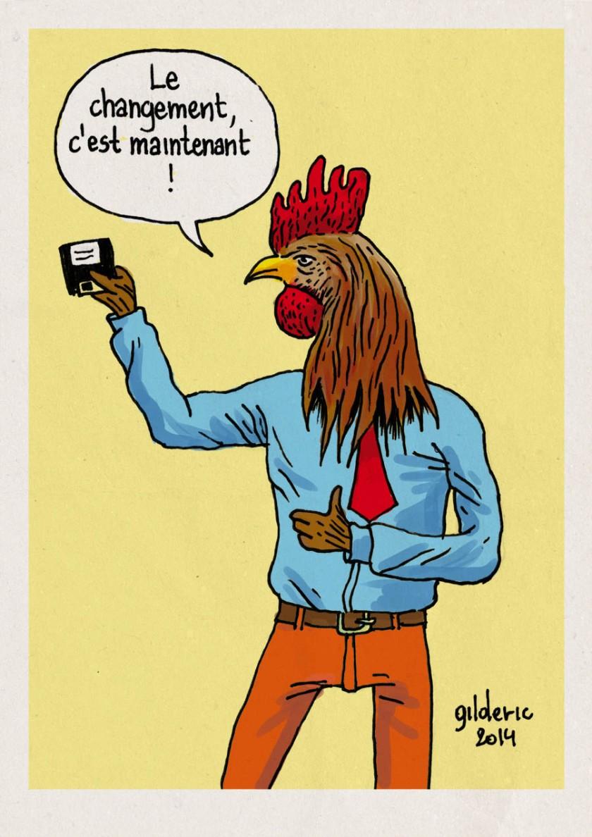 Elections 2014 : le coq et la disquette -  Dessin de Gilderic
