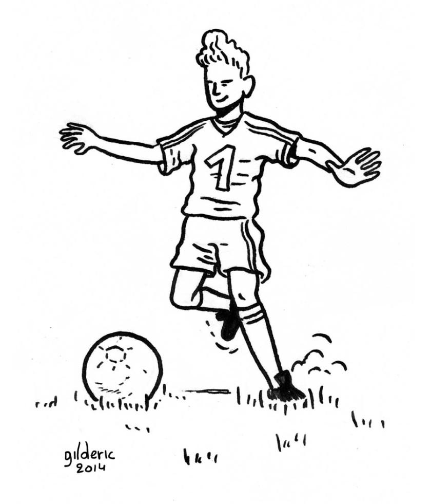 Garçon ado jouant au foot - Dessin de Gilderic