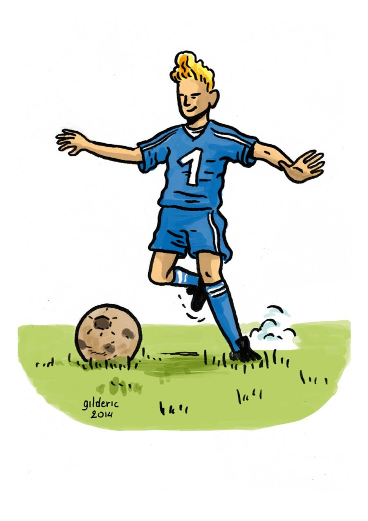 Jeune footballeur (dessin couleur)