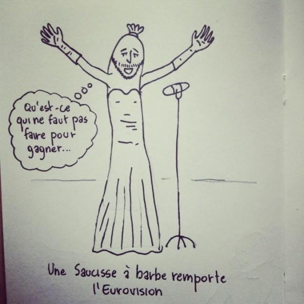 Taupe Chef : Une saucisse à barbe remporte l'eurovision - Dessin de Gilderic