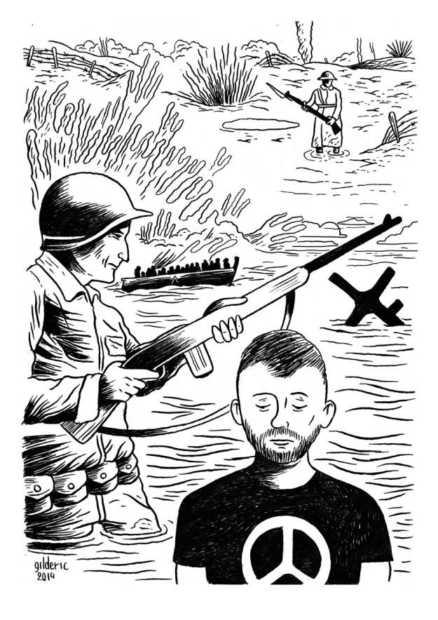 Entre 2 guerres (noir et blanc) - dessin de Gilderic