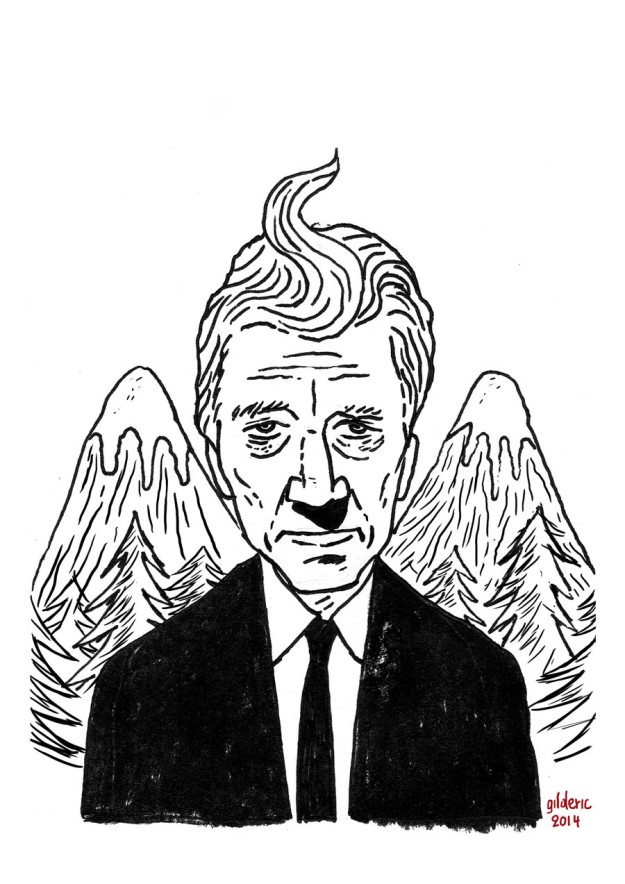 David Lynch returns to Twin Peaks (dessin original noir et blanc) - Dessin de Gilderic