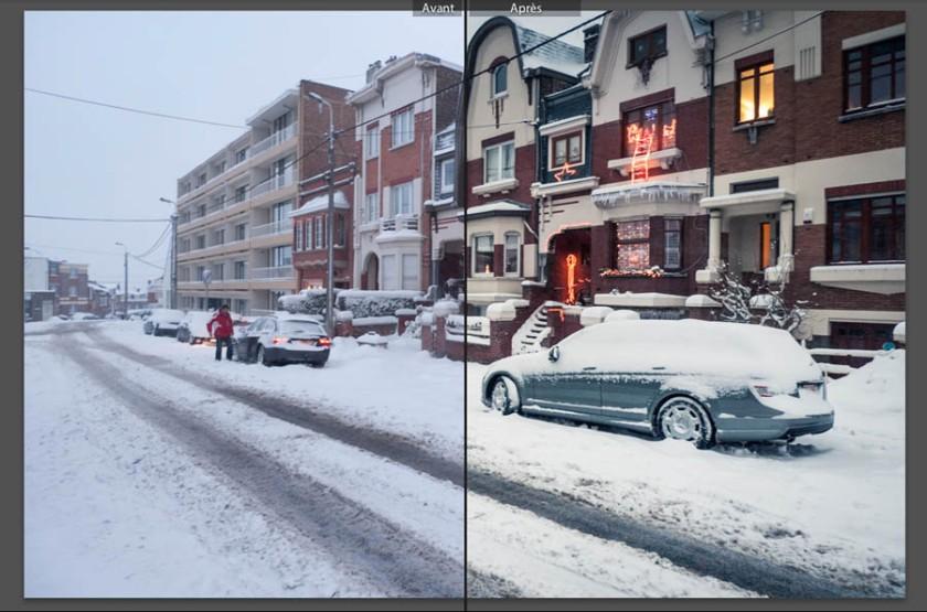 Comment photographier la ville sous la neige ? (avant-après) - Photo : Gilderic
