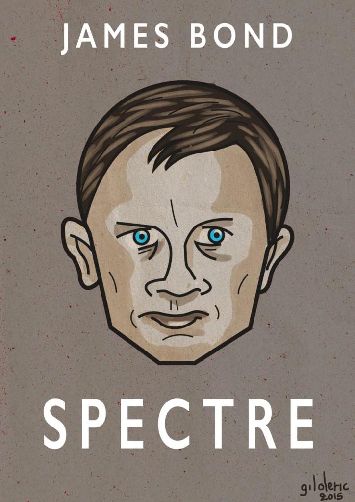James Bond (Daniel Craig) dans SPECTRE - dessin de Gilderic