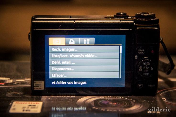 Canon Powershot G7X (vue de dos et de l'écran tactile)
