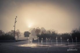 Liège-Guillemins dans le brouillard