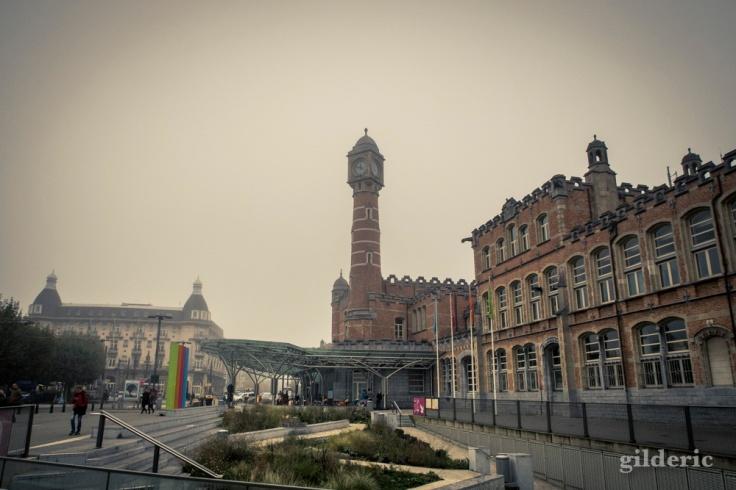 Gare de Gand embrumée
