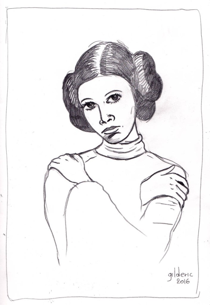 Carrie Fisher / Princesse Leia (dessin au crayon)