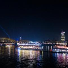 Le Rhin à Cologne, juste avant le feu d'artifice du Nouvel An