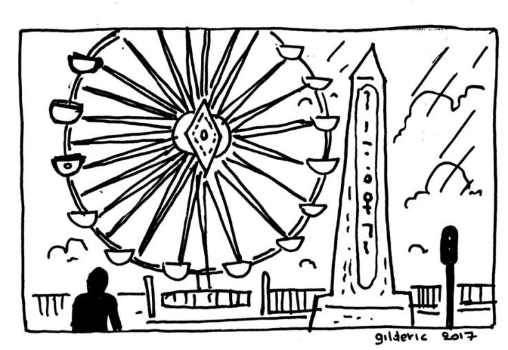 Place de la Concorde sous la pluie (dessin)