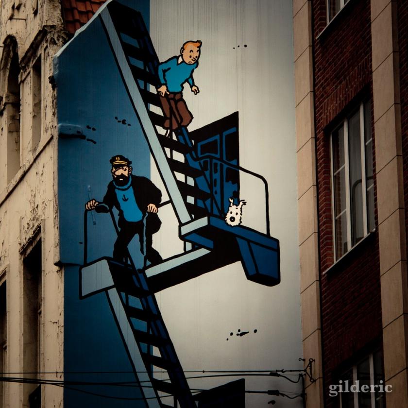 Fresque 'Tintin et Haddock'