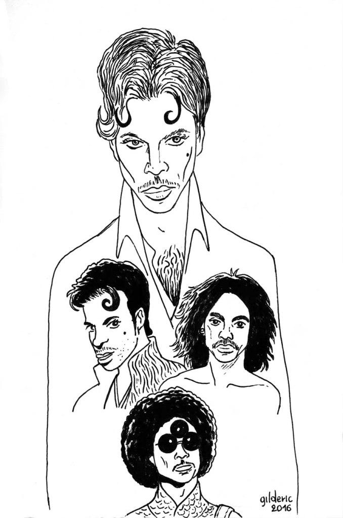 Portrait de Prince (dessin noir et blanc)