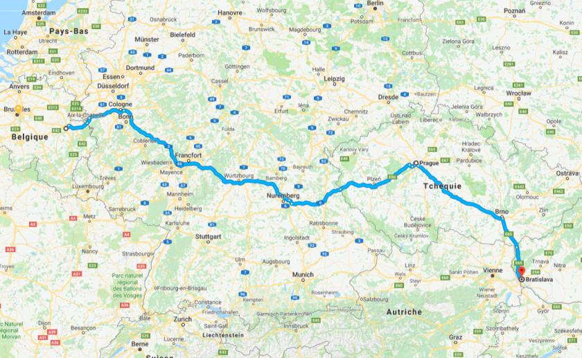 Road trip : de Liège à Bratisllava (carte)