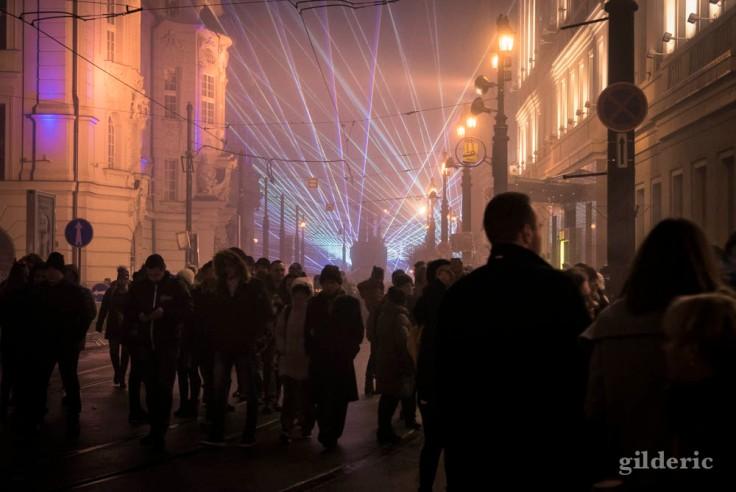 Lasers et musique du Nouvel An à Bratislava