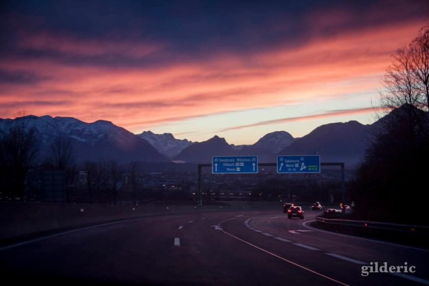 Coucher de soleil sur les Alpes, en Autriche