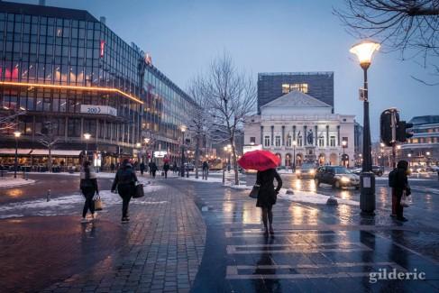 Sous la neige, à Liège