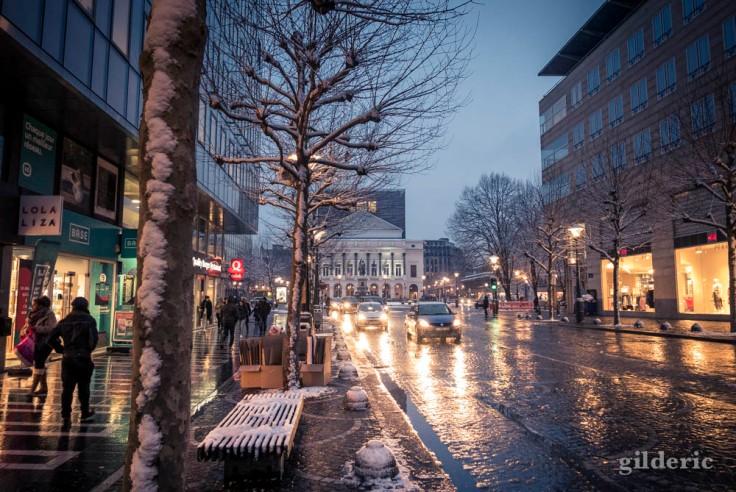 Neige fondante dans le centre de Liège
