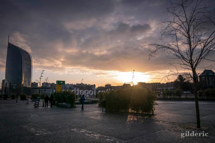 Lever de soleil à Liège-Guillemins