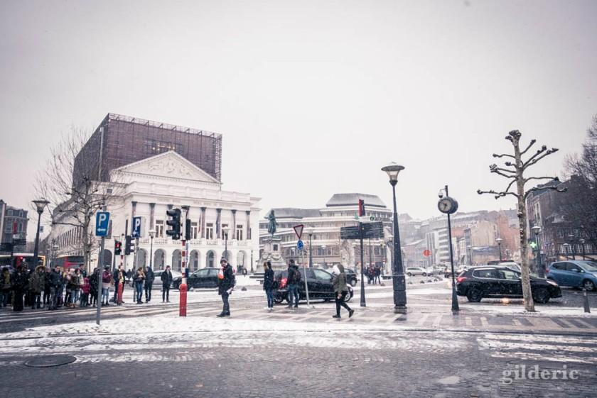 Il neige sur le Théâtre Royal (Opéra) de Liège