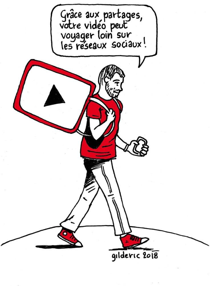 Réussir sa bande-annonce YouTube (dessin) : partager sur les réseaux sociaux