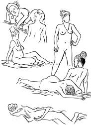 Etudes de nu (encre sur papier)