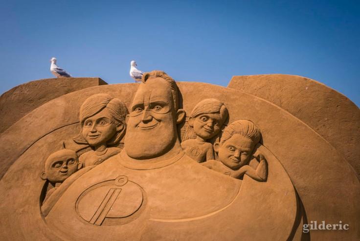 Disney Sand Magic 2018 à Ostende : les Indestructibles (sculpture de sable)