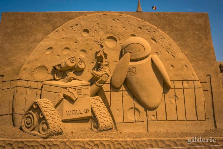 Disney Sand Magic 2018 à Ostende : sculpture de sable Wall-E (Pixar)