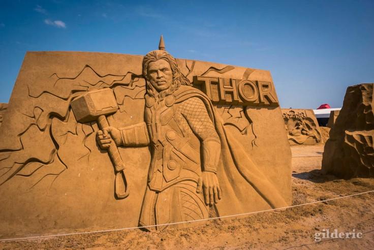Disney Sand Magic 2018 à Ostende : Thor (sculpture de sable)