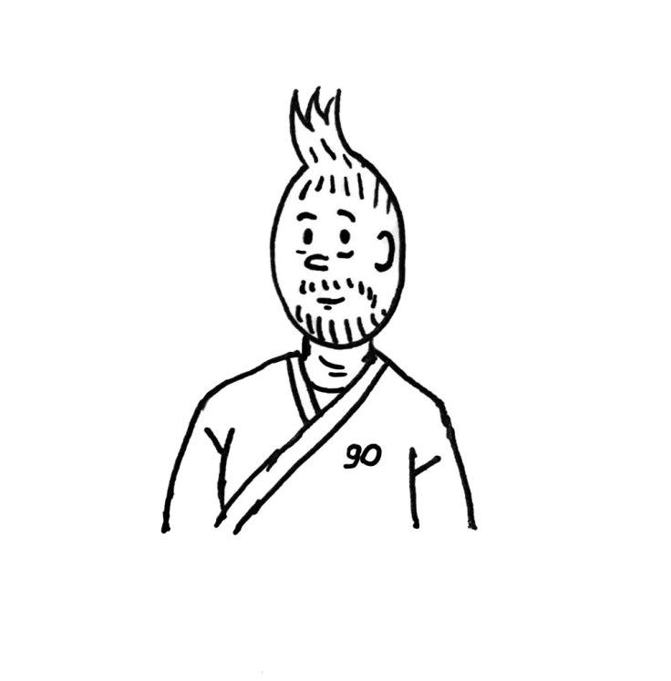 Tintin a 90 ans (joyeux anniversaire) - dessin