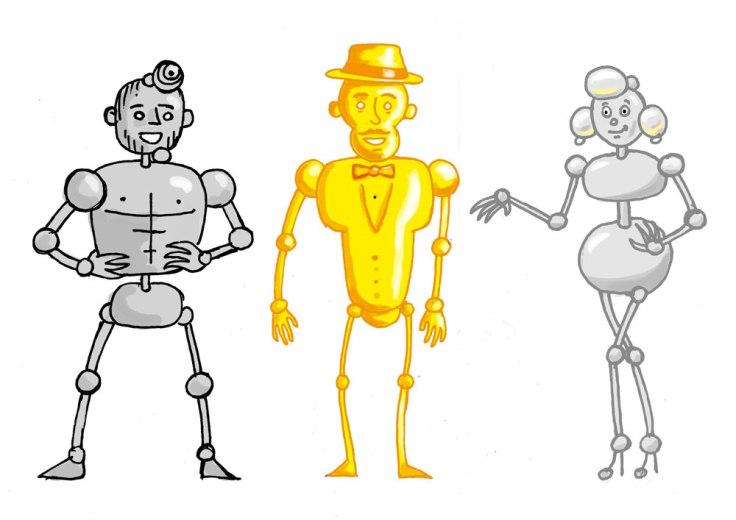 Goldie, Silvester et Miss Platina : mise en couleur des personnages
