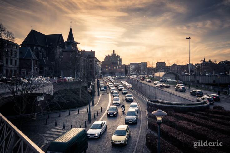 Voitures dans les bouchons de Liège