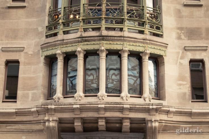 Hotel Tassel (architecte Victor Horta) à Bruxelles : détail de la façade
