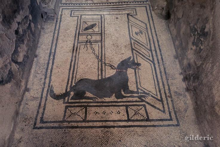 Cave Canem (mosaïque à l'entrée d'une maison à Pompéi)