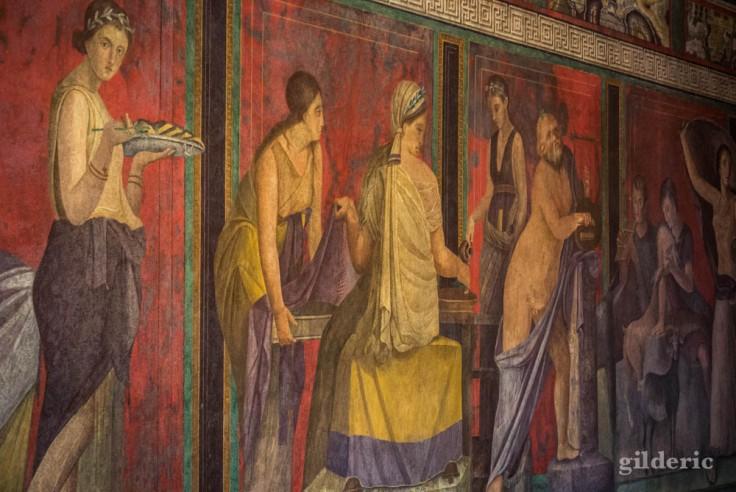 Détail d'une des fresques de la Villa des Mystères (Pompéi)