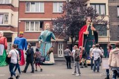 Les géants Gertrudis et Pepijn van Landen avant le cortège du 15 août 2019