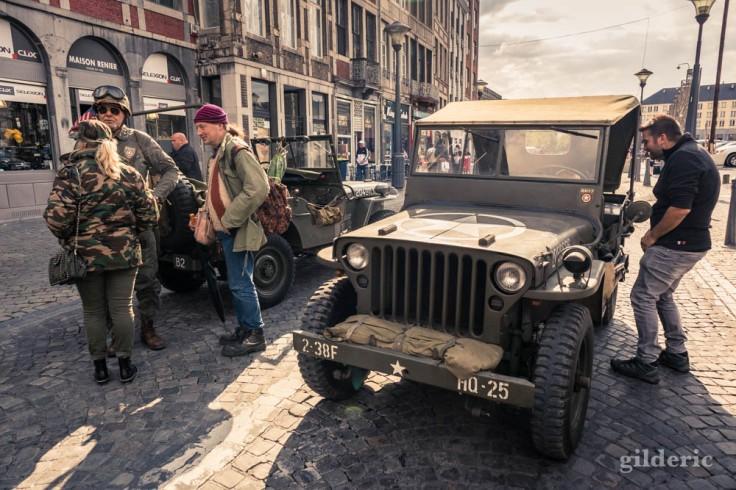 Jeeps dans les rues liégeoises (75e anniversaire de la libération)