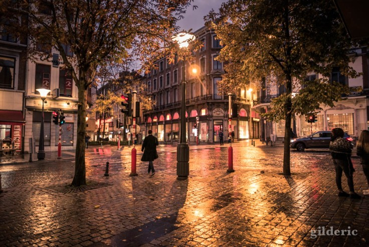 Reflets mouillés de pluie (place République française, Liège)
