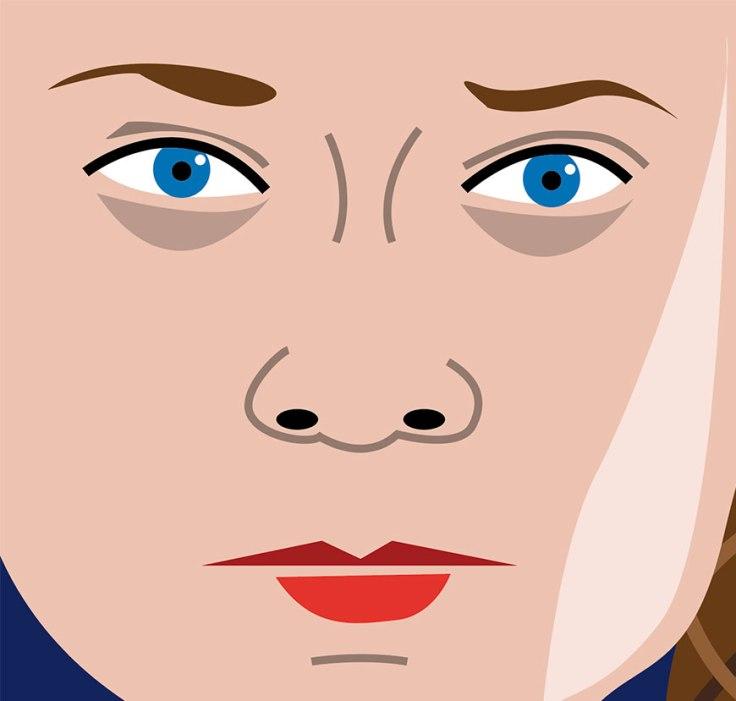 Le regard de Greta Thunberg (dessin vectoriel) -détail