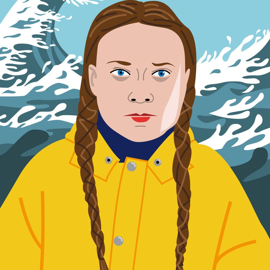 Portrait de Greta Thunberg -illustration vectorielle