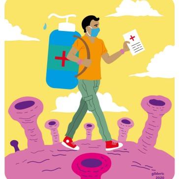 Faut-il partir en vacances à l'étranger en 2020 ? Illustration flat design