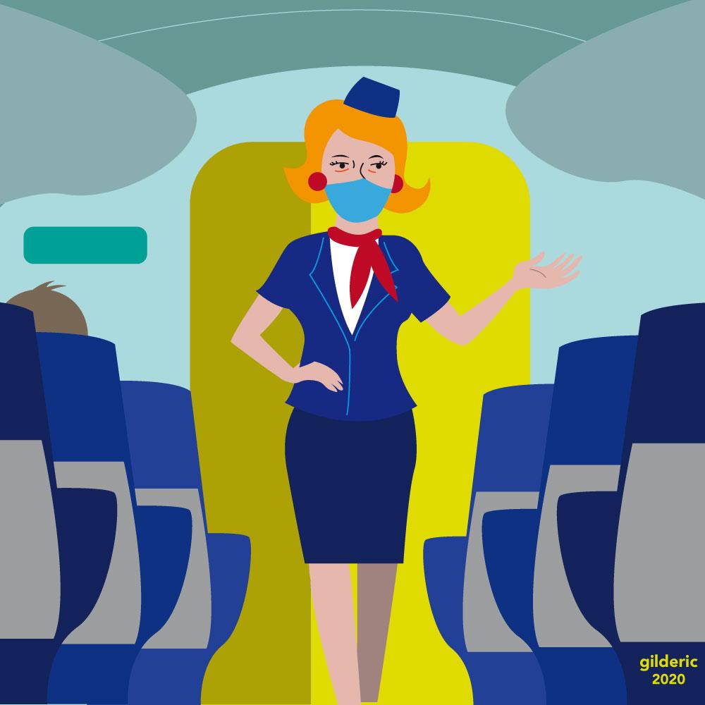 Hôtesse de l'air dans un avion après le déconfinement (flat design illustration)