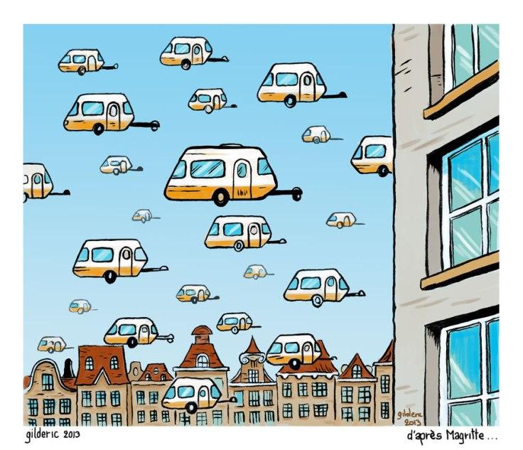 Une caravane en Hollande (hommage à Magritte)