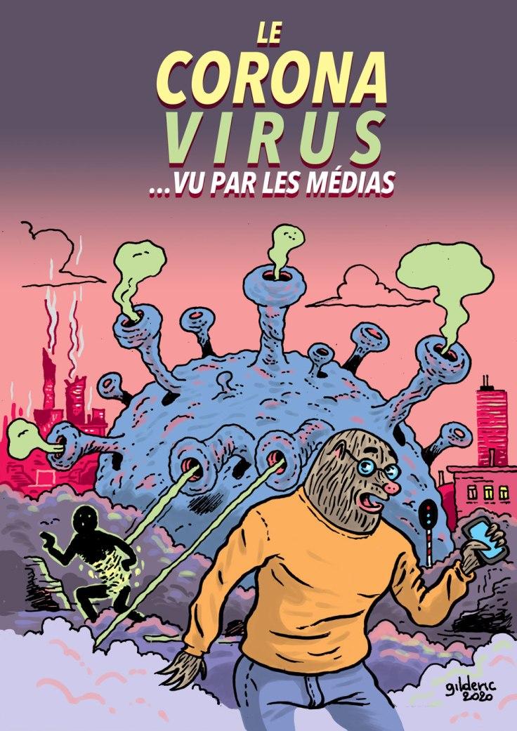 Coronavirus vu par les médias (illustration version affiche)
