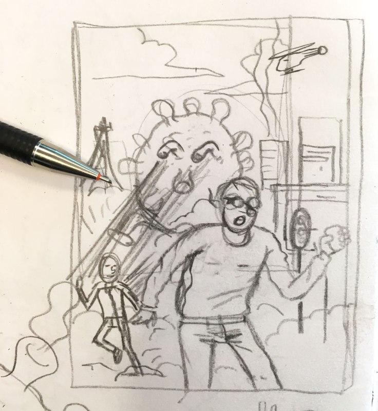 Dessiner le coronavirus : esquisse au crayon