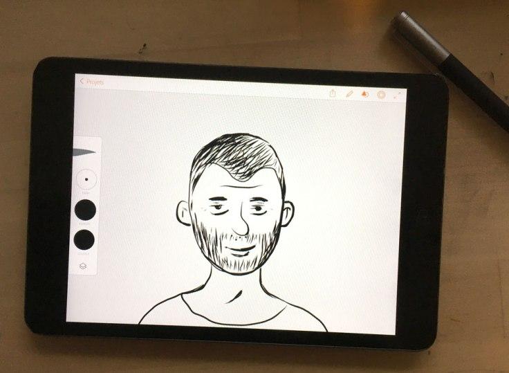 Dessin sur l'app Adobe Illustrator Draw, sur iPad mini avec un stylet Bamboo Wacom